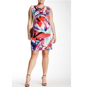 London Times Paint Splash Cowl Neck Dress Size 14W
